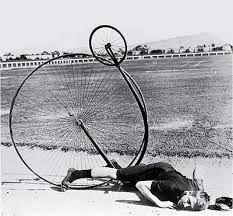 "Penny-farthing bicycle crash known as a ""header"" - ouch!"