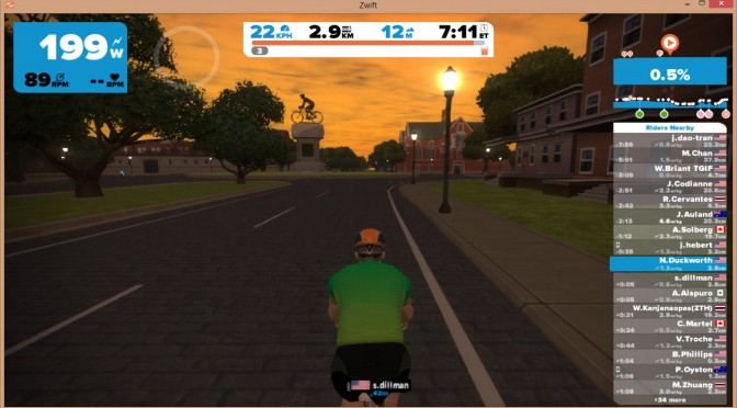 Zwift's UCI World Championship Course, Richmond VA, 2015